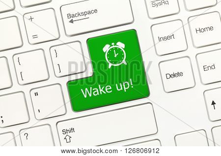 White Conceptual Keyboard - Wake Up (green Key With Alarm Symbol)