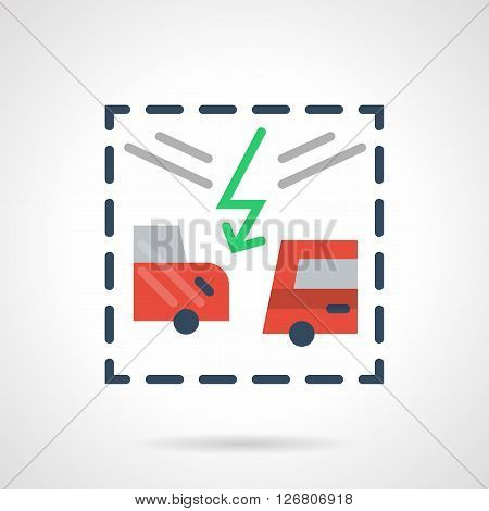 Green lightning between two red cars. Vehicle collision on a road. Car insurance cases. Automobile repair after an accident. Flat color vector icon. Web design element for site, mobile and business.