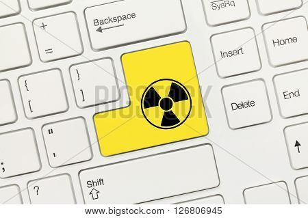 White Conceptual Keyboard - Yellow Key With Radiation Symbol