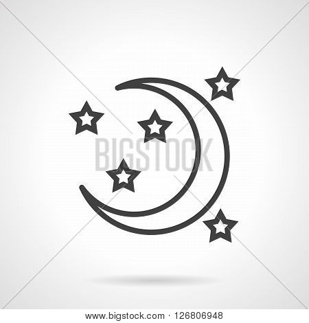Crescent or a new moon and stars. Symbol of night and time for sleep. Astronomy and astrology. Sign for meteorology. Simple black line vector icon. Single element for web design, mobile app.