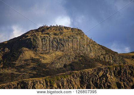 The magnificent view of Arthurs Seat from Calton Hill in Edinburgh Scotland.