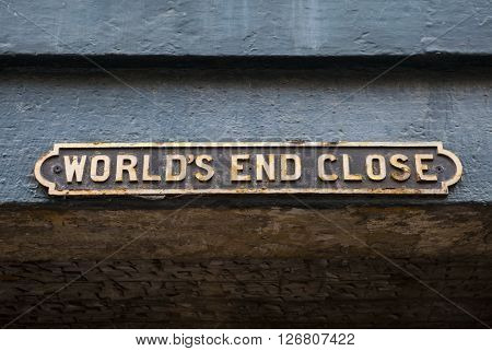 The street sign for Worlds End Close in Edinburgh Scotland.