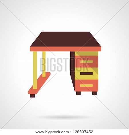 Colorful table with drawers. Comfortable workplace for home, school, library and office. Furniture store. Flat color style vector icon. Web design element for site, mobile and business.