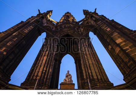 A view of the impressive Scott Monument located on Princes Street in Edinburgh Scotland.
