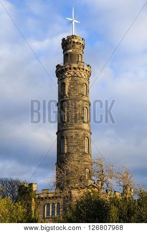 A view of the Nelson Monument in Edinburgh Scotland.