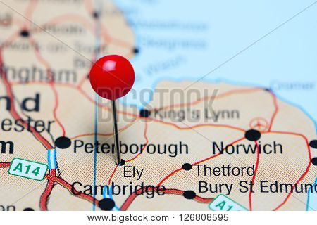 Ely pinned on a map of UK