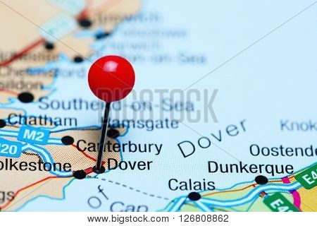 Dover pinned on a map of UK