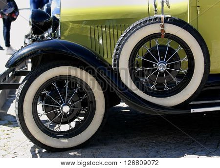 US car Ford Model A Roadster is exposed to retro parade in the town of Sliven, Bulgaria, April 16.2016