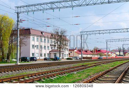 GOMEL BELARUS - APRIL 14 2016: Building of Gomel distance path of the Belorussian Railway on the Street Shosseynaya 3 Gomel Belarus