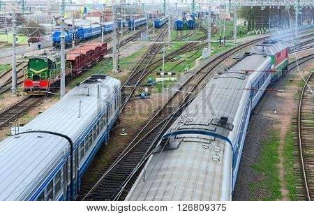 GOMEL BELARUS - APRIL 14 2016: Top view of the moving trains Gomel Belarus