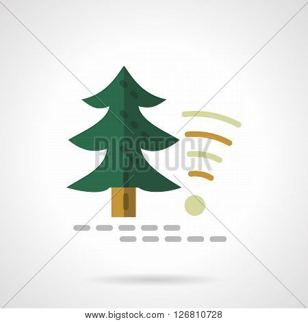 Green fir tree and object wireless sign. Technology in forest, camping services. Flat color style vector icon. Web design element for site, mobile and business.