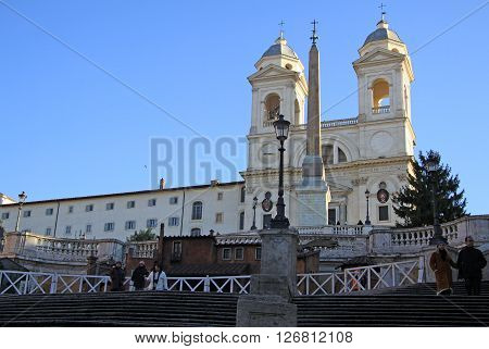 Rome, Italy - December 20, 2012: The Church Of The Santissima Trinita Dei Monti Above The Spanish St