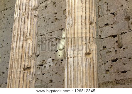 Rome, Italy - December 20, 2012:  Details Of Hadrian Temple Colonnade In Rome, Italy