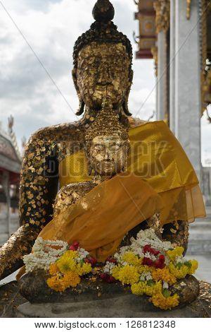 Bangkok Thailand - August 29 2015 : Thai buddha statue at Wat Hua Lamphong. Wat Hua Lamphong is a Royal Buddhist temple third class in the Bang Rak District of Bangkok Thailand.