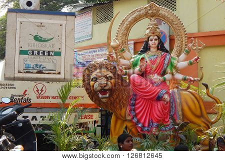 HYDERABAD,INDIA-APRIL 22: closeup of Hindu Goddess Durga in a temporary temple out doors on Hanuman jayanti celebration and procession April 22,2016 in Hyderabad,India