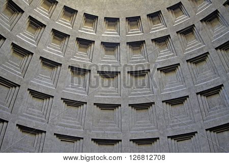 Rome, Italy - December 20, 2012: Detail Of A Cupola Of Pantheon In Rome, Italy
