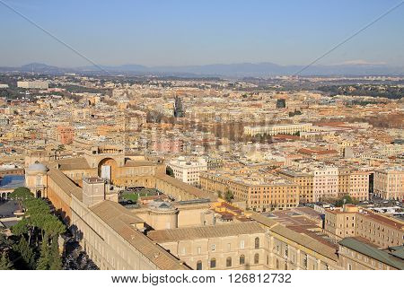 Rome, Italy - December 20, 2012: Aerial View Of Rome And Vatican From St. Peter's Basilica, Rome, It