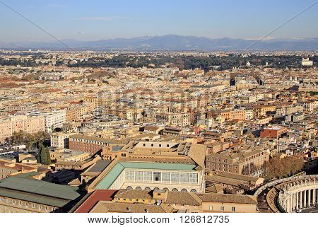 Rome, Italy - December 20, 2012: Aerial View Of Rome From St. Peter's Basilica, Rome, Italy