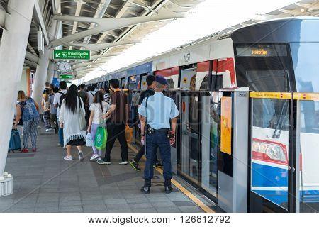 Bangkok Thailand - March 15 2016 : BTS skytrain train runs in Bangkok. Many people in Bangkok used skytrain to save time.