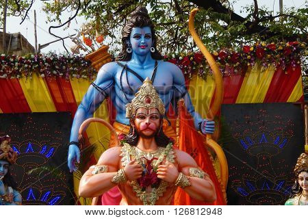 HYDERABAD,INDIA-APRIL 22:View of Hindu gods Hanuman and Rama in a temporary pandal during Hanuman Jayanti festival procession on April 22,2016 in Hyderabad,India