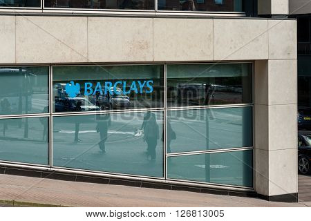 GLASGOW SCOTLAND - SEPTEMBER 03 2015: Barclays Bank office in Modern buildings in Douglas Street Glasgow Scotland.