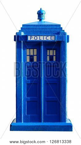 GLASGOW SCOTLAND - JANUARY 22 2016: Photo of a cut-out old style Police Box in Glasgow.
