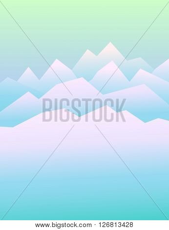 Peaceful mountains in winter. Highlands landscape, vector background for booklet, flyer, outdoor advertising, brochure, banner, book cover. Colorful mountain landscape for cover of book or magazine
