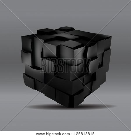 vector illustration of 3d black cube. Abstract background for your design