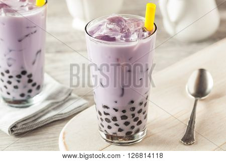 Homemade Taro Milk Bubble Tea With Tapioca