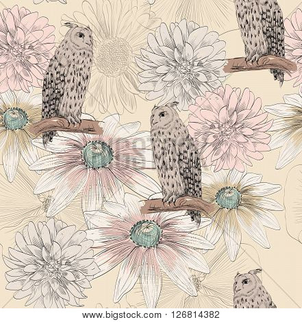 Vector sketch of a owl with flowers. Seamless pattern.