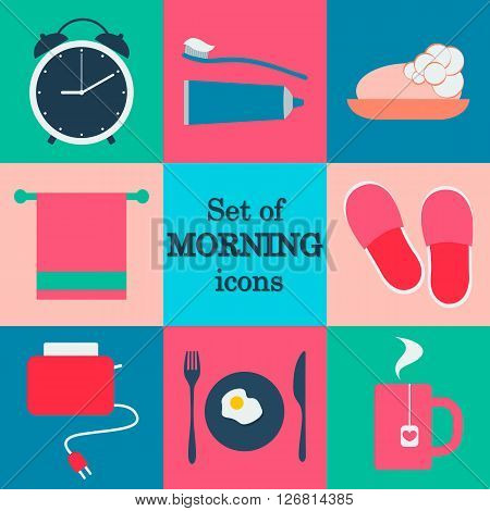Set of morning icons. Flat vector design. Morning routine. Vector icons. Flat vector icons.
