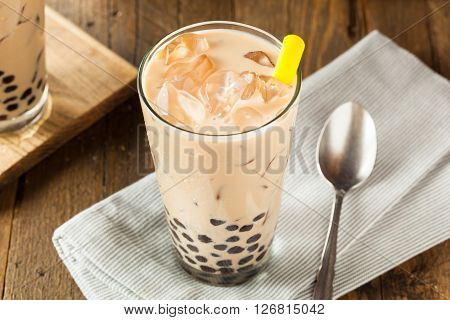 Homemade Milk Bubble Tea With Tapioca