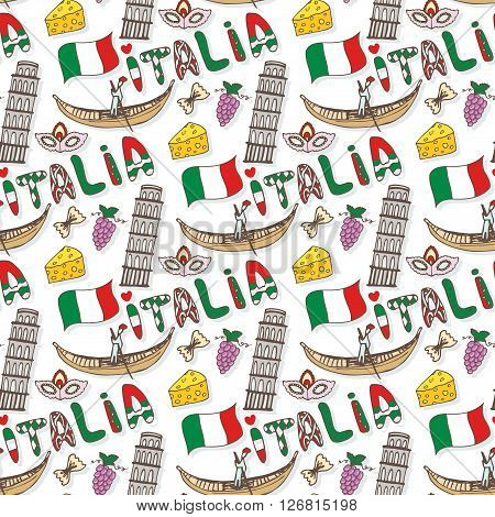 Italy seamless pattern with flag and culture elements. Vector doodle travel background. Handwriting Italia lettering in italian language - Italy.