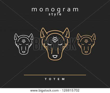Monogram wolf. Wolf Totem . A set of monogrammed wolves.