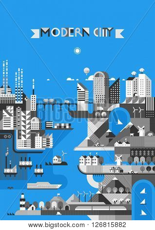 Infographic - modern city, industry, ecosystem and travel. Flat design. Transport links.
