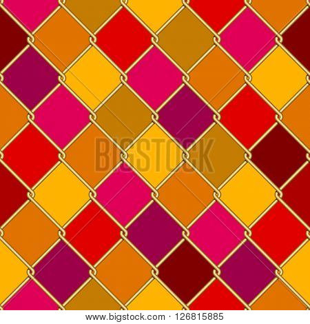 Gold wire grid seamless pattern on motley rhomboids background. Vector illustration