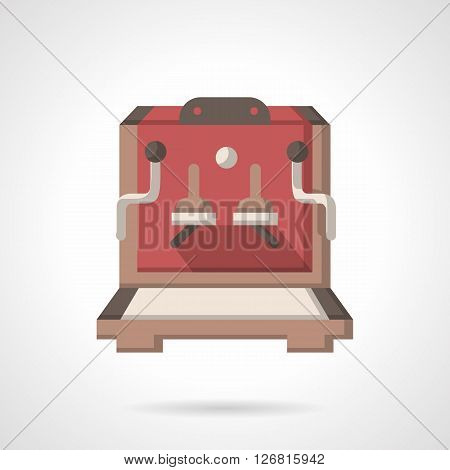 Coffee machine with two handles and brewers. Equipment for coffee making and sale of coffee beverage.  Restaurant and cafe. Flat color vector icon. Web design element for site, mobile and business.