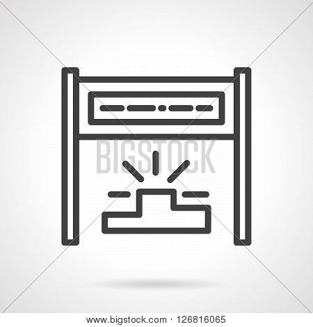 Finishing tape on poles and champions podium. Symbol of success. Athletics marathon race, sports competition. Simple black line vector icon. Single element for web design, mobile app.