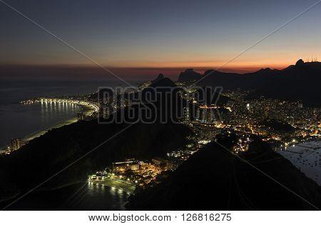 Night view of Guanabara Bay, Praia Vermelha, Copacabana, Botafogo, Urca and Corcovado from Sugar Loaf Mountain, Rio de Janeiro, Brazil