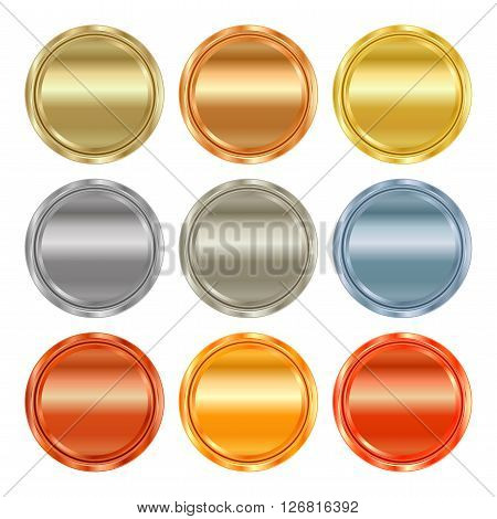vector round blank templates from gold platinum silver bronze copper brass which can be used as print medals badges coins medals tags labels
