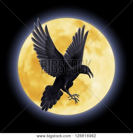 Black crow soars on the background of a full moon night