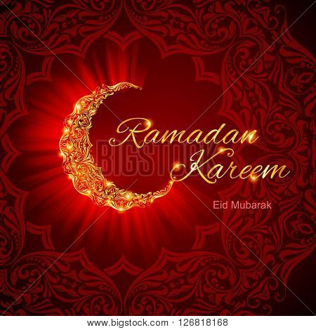 Glowing ornate crescent with floral design in dark red and golden shades. Greeting card of holy Muslim month Ramadan