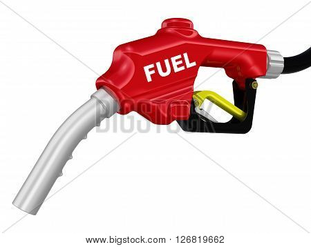 Automotive refueling gun. Car fuel nozzle and the black hose. Isolated. 3D Illustration