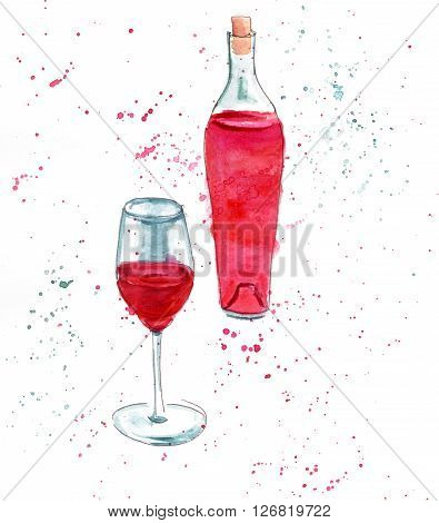 A watercolor of a glass and a Provence type bottle of rose wine hand painted in a loose manner with splashes of paint