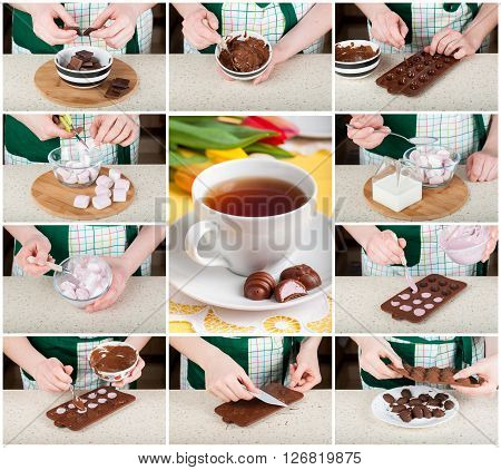 A Step By Step Collage Of Making Easter Egg Shaped Candies