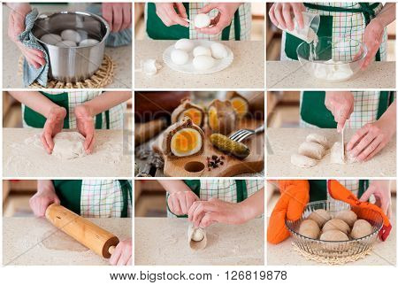 A Step By Step Collage Of Making Rye Dough Wrapped Eggs