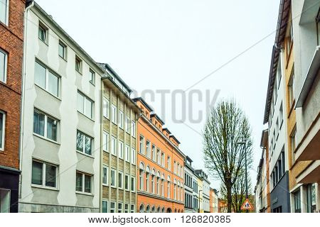 Beautiful street view of Traditional old buildings in Aachen, Germany