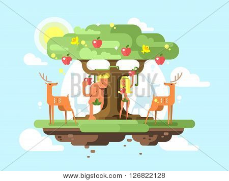 Adam and Eve near a tree. Apple garden fruit and couple male and female. Vector illustration
