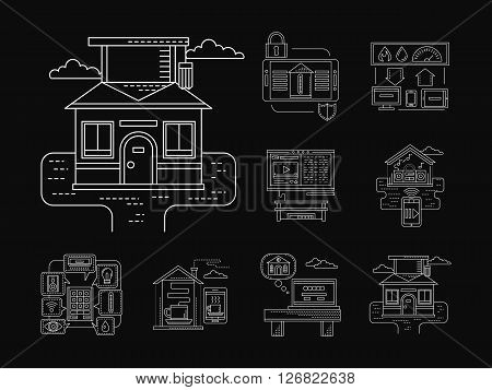 Application for smart home technology. Remote control of appliances, survey, power, conditioning. Detailed white flat line vector icons on black. Web design elements for business, site, mobile app.