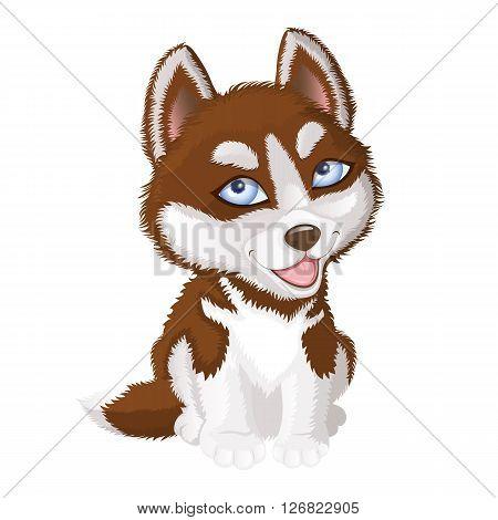 Cartoon illustration of smiling Alaskan Malamute dog
